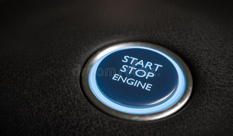 Botão do motor da parada de começo no interior do carro 3D rendeu a ilustração ilustração royalty free