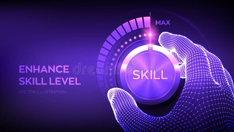Botão do botão Níveis de habilidades Aumento do nível de habilidades Mão de moldura girando um botão de prova de perícia até à po ilustração royalty free