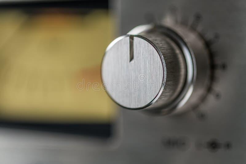 Botão do nível recorde do gravador do vintage fotografia de stock