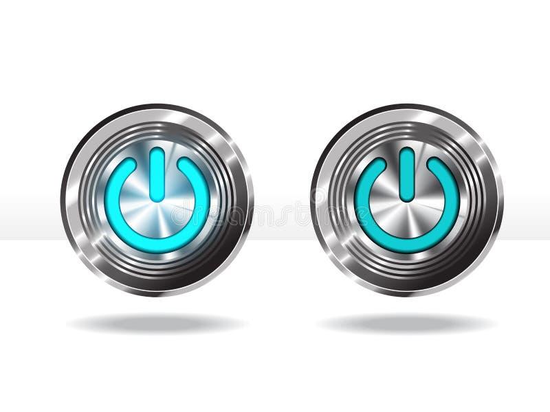 Botão do poder: Azul Ilustração do vetor ilustração do vetor