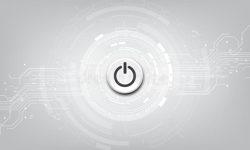 Botão do poder do vetor no fundo da tecnologia ilustração do vetor