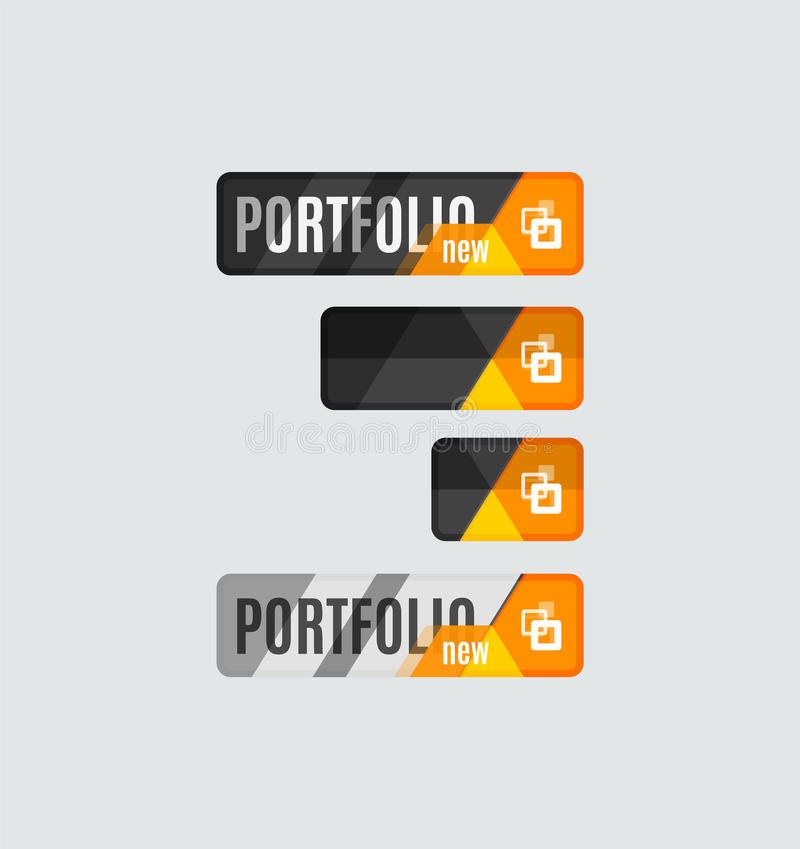 Botão do portfólio, projeto futurista da olá!-tecnologia UI ilustração stock