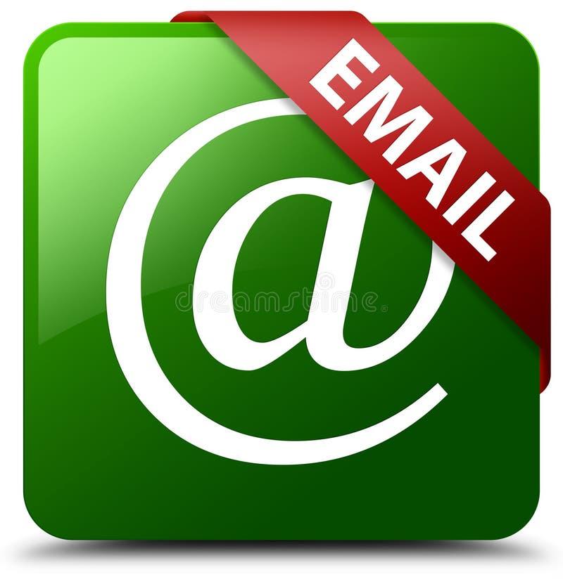 Botão do quadrado do verde do ícone do endereço email ilustração royalty free