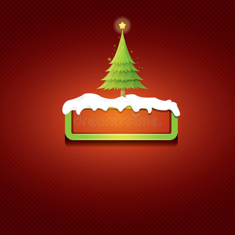 Botão do verde do vetor do Natal com árvore de Natal ilustração stock