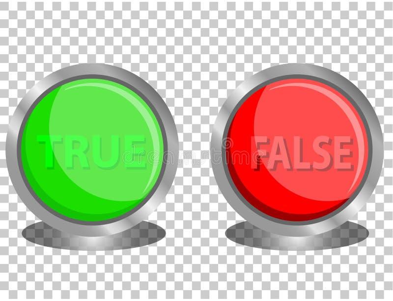 Botão do vetor verdadeiro e falso ilustração do vetor