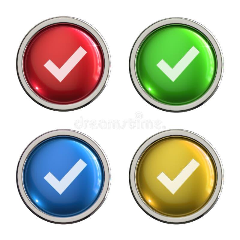 Botão do vidro do ícone da marca de verificação ilustração royalty free
