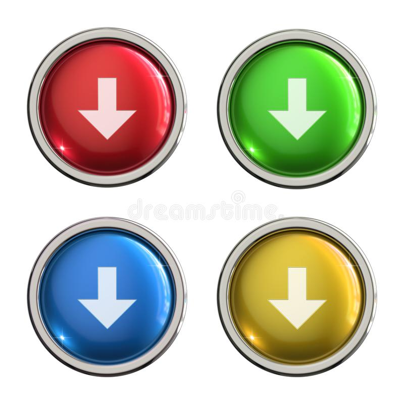 Botão do vidro do ícone da transferência ilustração royalty free