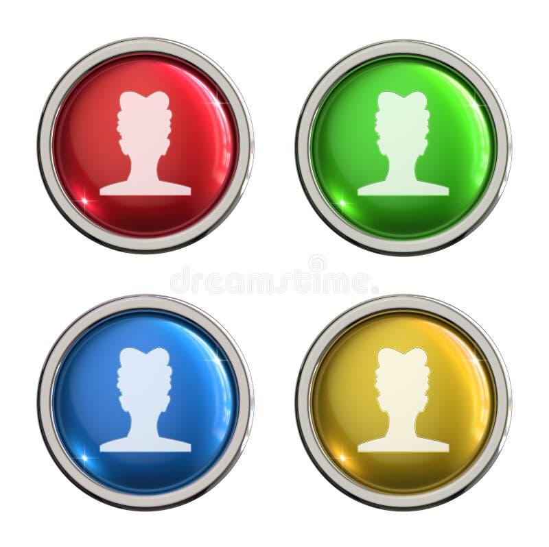 Botão do vidro do ícone do usuário da mulher ilustração do vetor