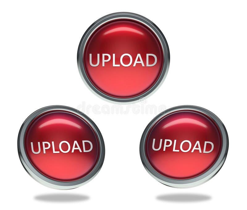 Botão do vidro da transferência de arquivo pela rede ilustração do vetor
