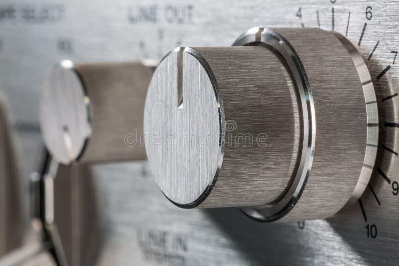 Botão do vintage Foco no botão do nível do rec imagem de stock