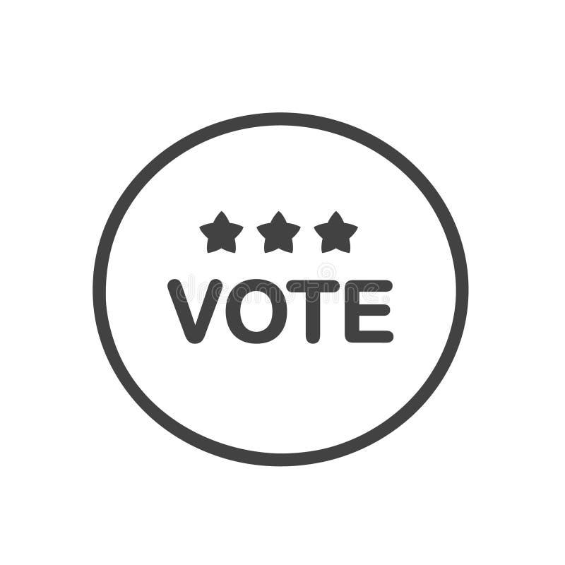 Botão do voto com três estrelas Projeto liso Hora para eleições ilustração stock