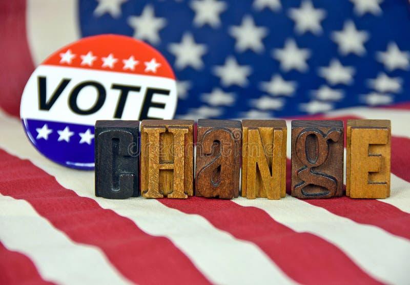 Botão do voto e tipo da tipografia na bandeira fotos de stock