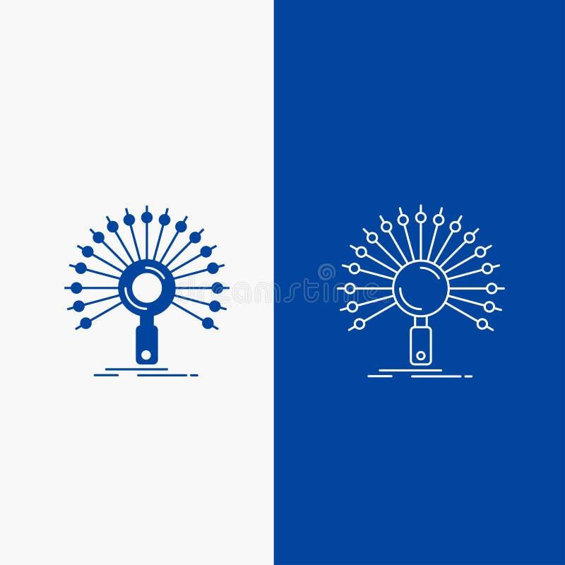Botão dos dados, da informação, o informativo, da rede, da linha da recuperação e do Glyph da Web na bandeira vertical da cor azu ilustração royalty free