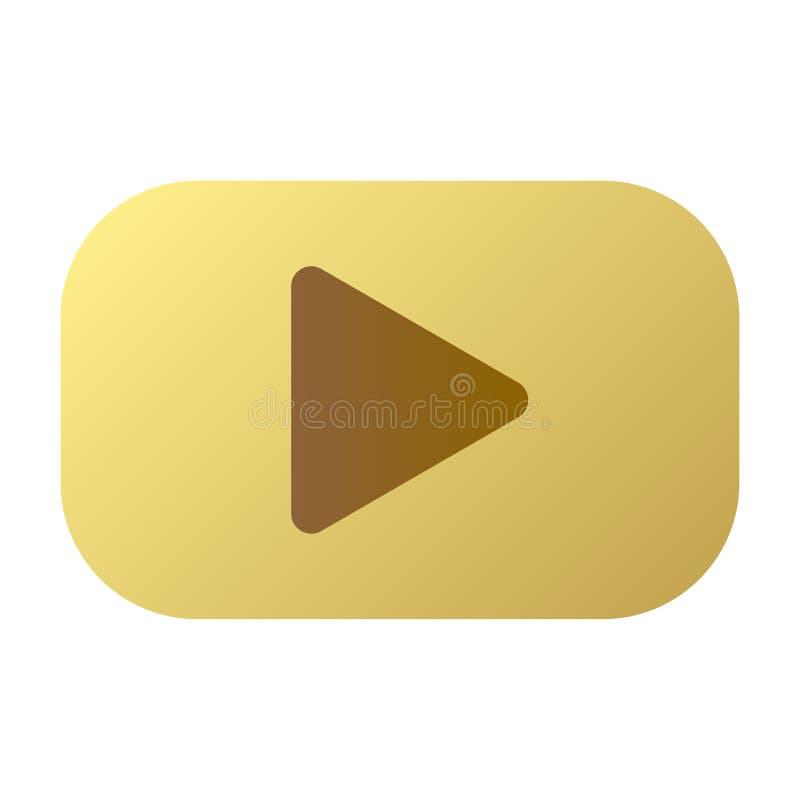 Botão dourado com ícone do jogo no vetor ilustração royalty free