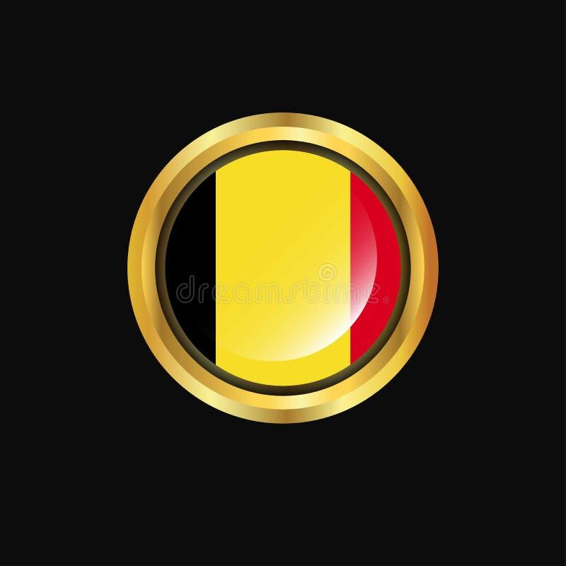 Botão dourado da bandeira de Bélgica ilustração royalty free