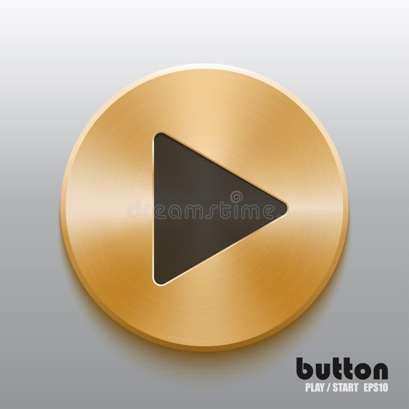 Botão dourado do jogo com símbolo preto ilustração stock