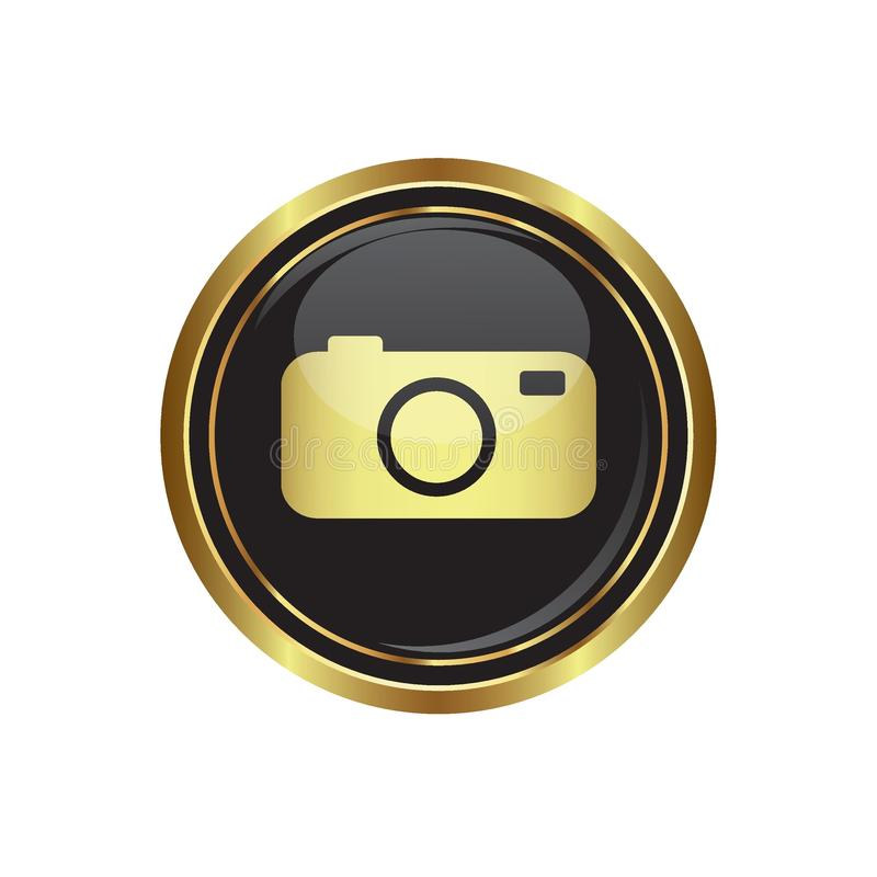 Botão dourado redondo com ícone da câmera ilustração do vetor
