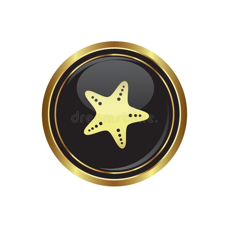 Botão dourado redondo com ícone da estrela de mar ilustração do vetor