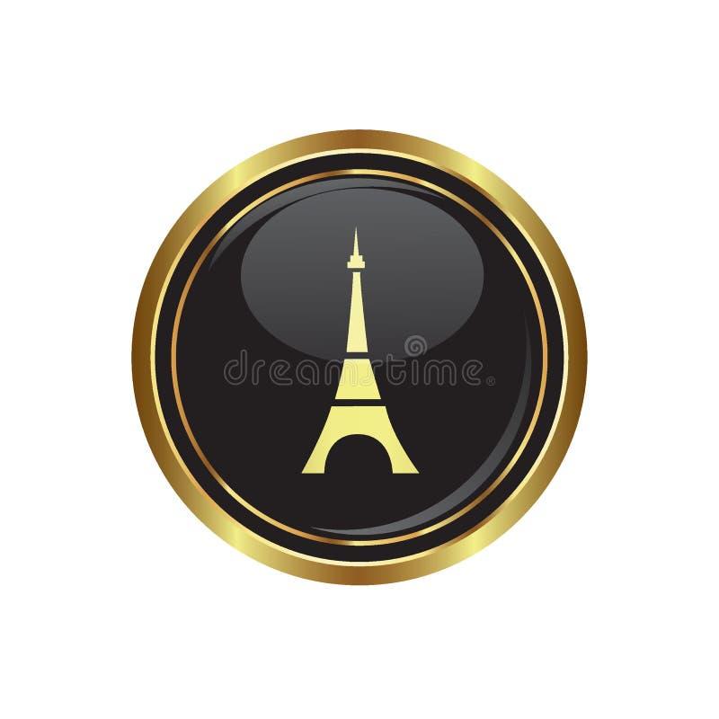Botão dourado redondo com ícone da torre Eiffel ilustração stock