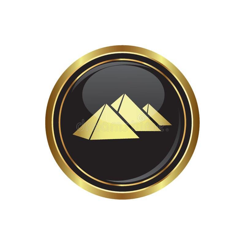 Botão dourado redondo com ícone das pirâmides ilustração royalty free