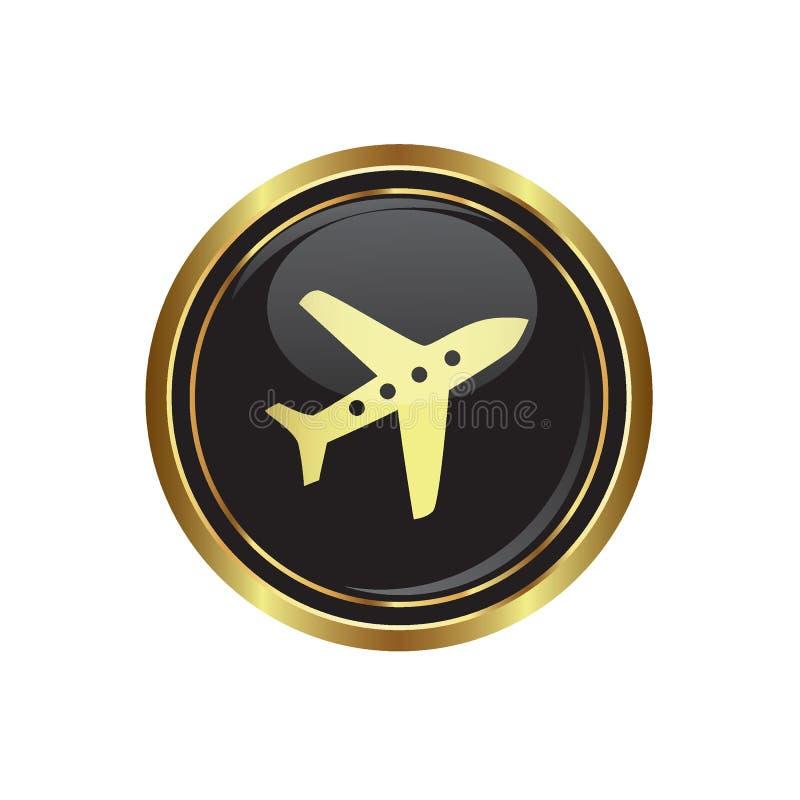 Botão dourado redondo com ícone do avião ilustração do vetor