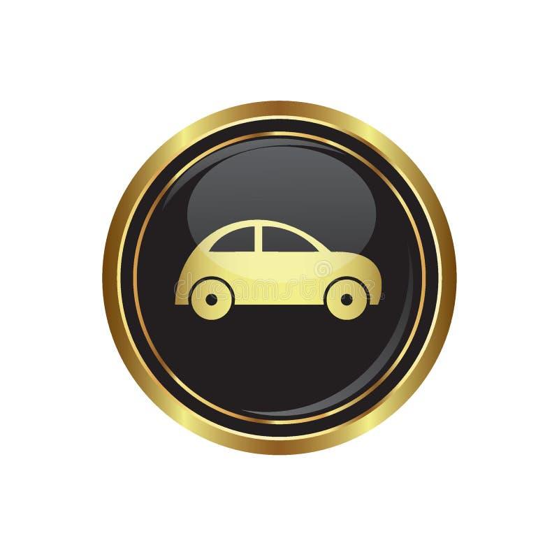 Botão dourado redondo com ícone do carro ilustração do vetor