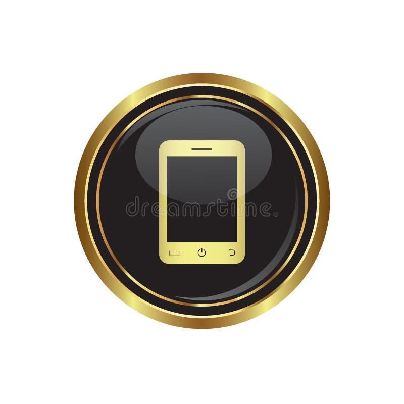 Botão dourado redondo com ícone do telefone ilustração do vetor