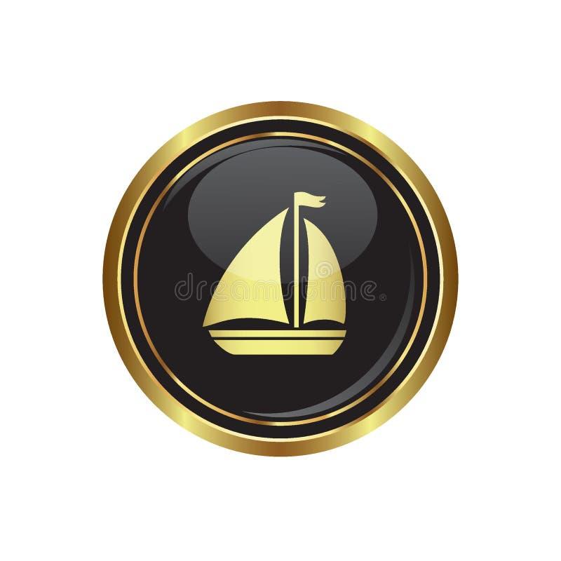 Botão dourado redondo com ícone do veleiro ilustração stock
