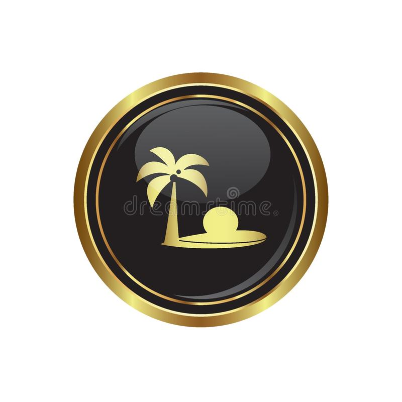 Botão dourado redondo com ícone tropical da praia e da palmeira ilustração do vetor