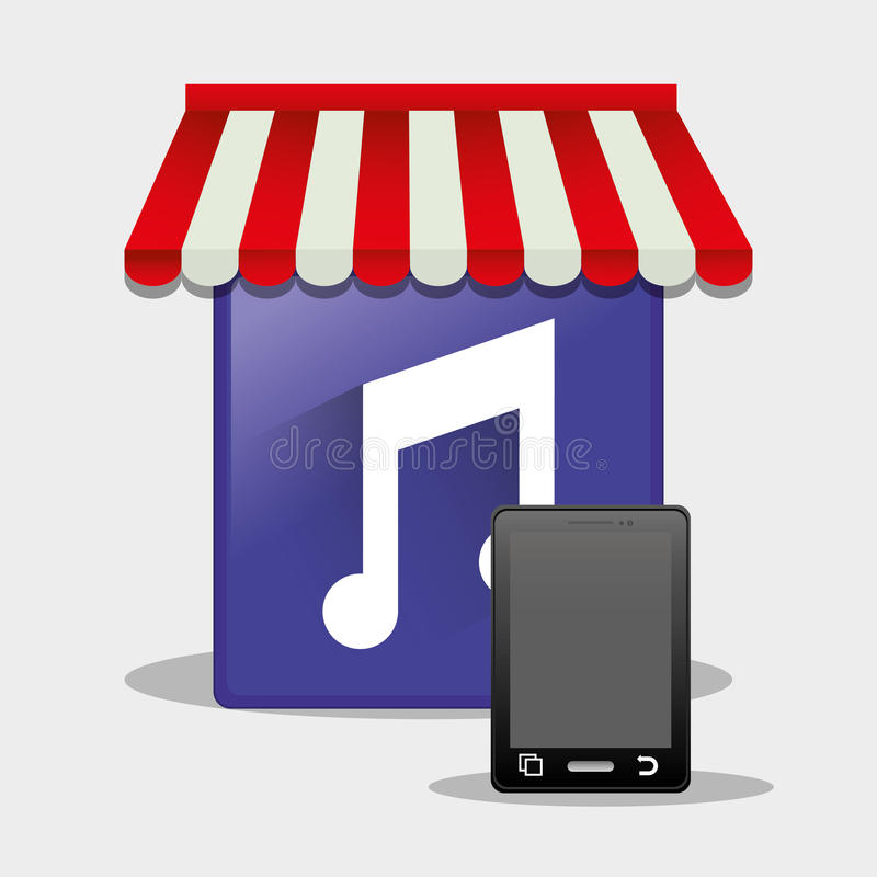 botão em linha do smartphone da loja da música móvel ilustração do vetor