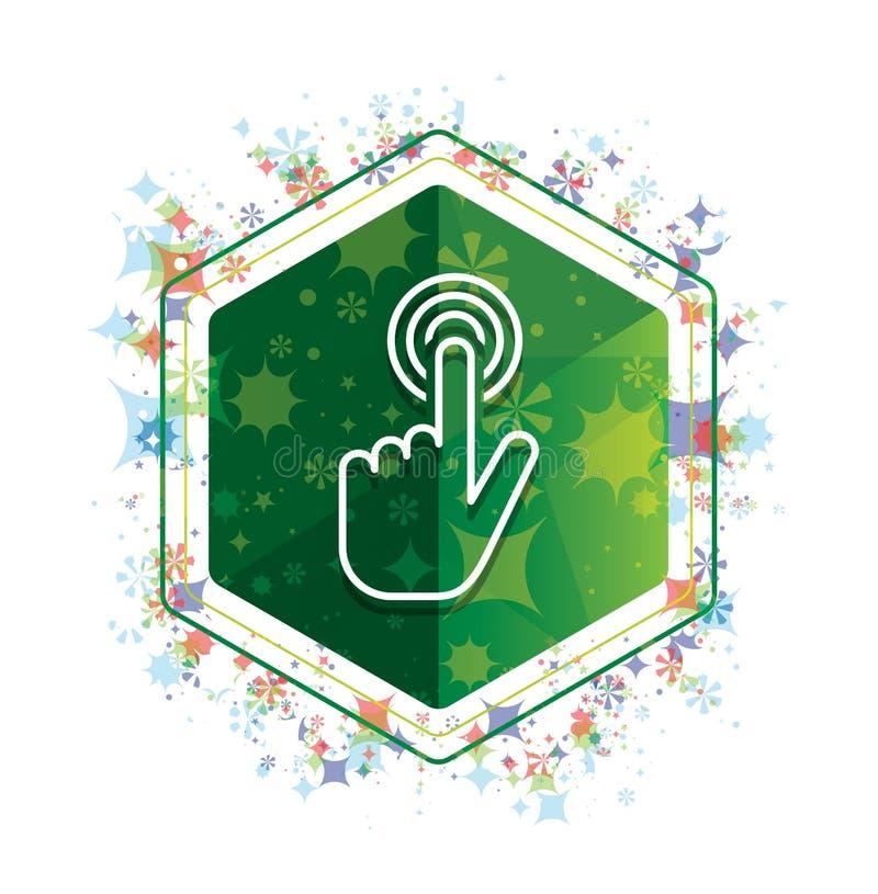 Botão floral do hexágono do verde do teste padrão das plantas do ícone do clique do cursor da mão ilustração royalty free