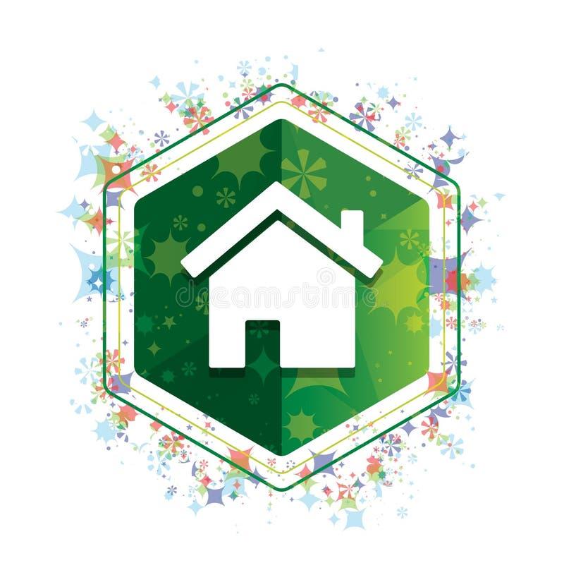 Botão floral do hexágono do verde do teste padrão das plantas do ícone da casa ilustração do vetor