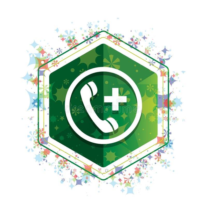 Botão floral do hexágono do verde do teste padrão das plantas do ícone da chamada de emergência ilustração royalty free