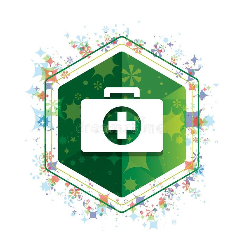 Botão floral do hexágono do verde do teste padrão das plantas do ícone do kit de primeiros socorros ilustração stock