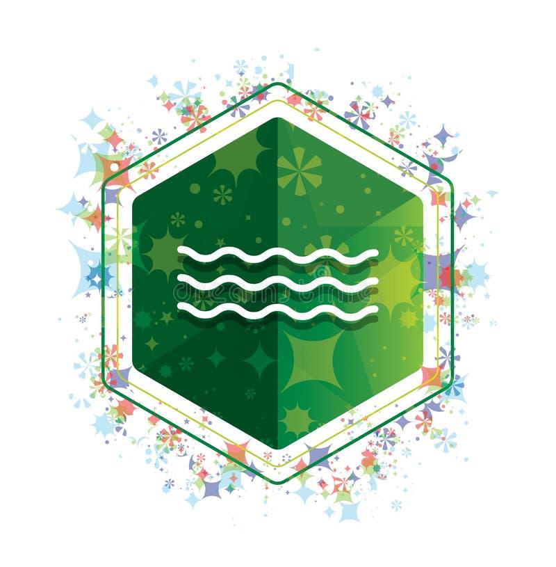 Botão floral do hexágono do verde do teste padrão das plantas do ícone das ondas do mar ilustração royalty free