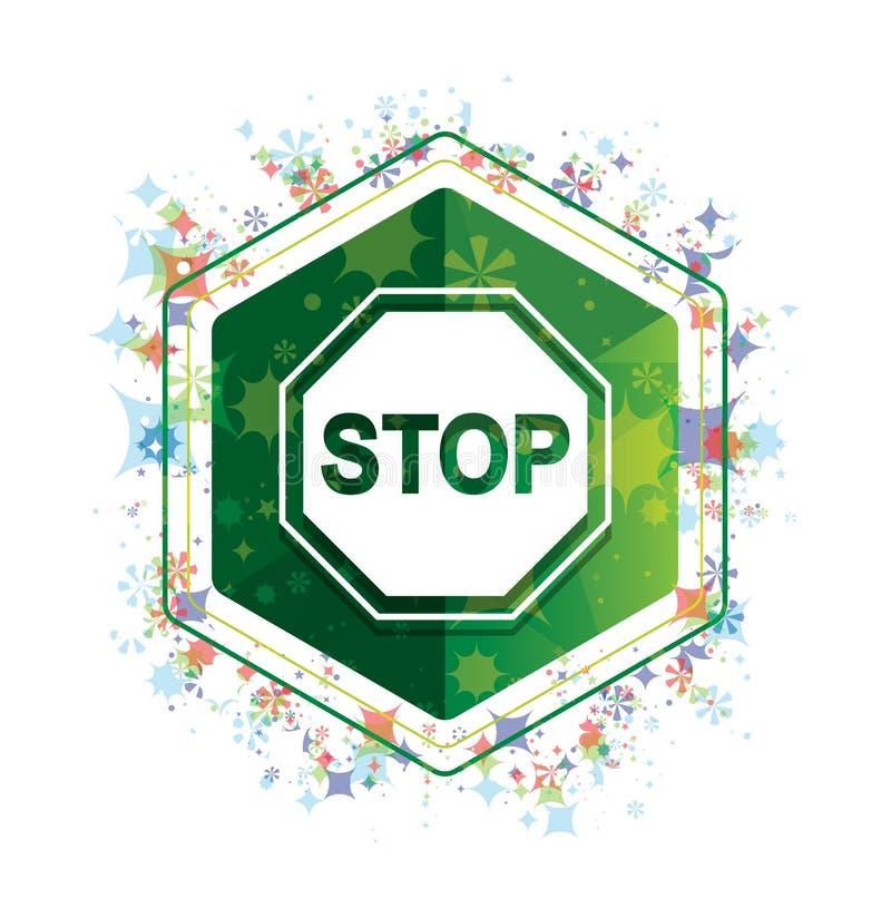 Botão floral do hexágono do verde do teste padrão das plantas do ícone do sinal da parada ilustração royalty free