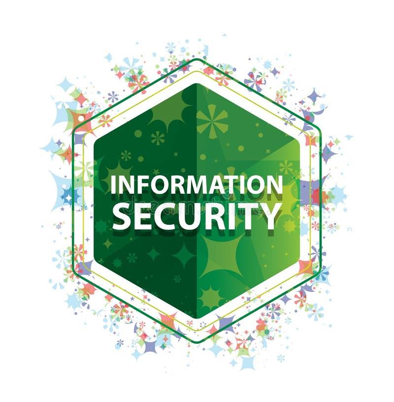 Botão floral do hexágono do verde do teste padrão das plantas da segurança da informação ilustração royalty free
