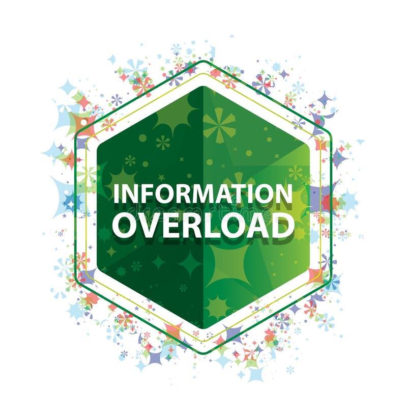 Botão floral do hexágono do verde do teste padrão das plantas da sobrecarga de informação ilustração stock