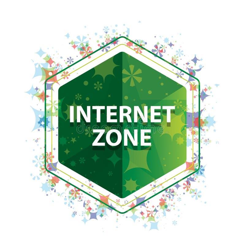 Botão floral do hexágono do verde do teste padrão das plantas da zona do Internet fotografia de stock royalty free