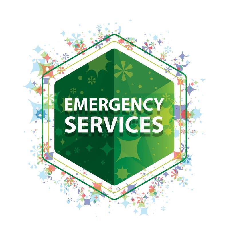 Botão floral do hexágono do verde do teste padrão das plantas dos serviços de urgências ilustração do vetor
