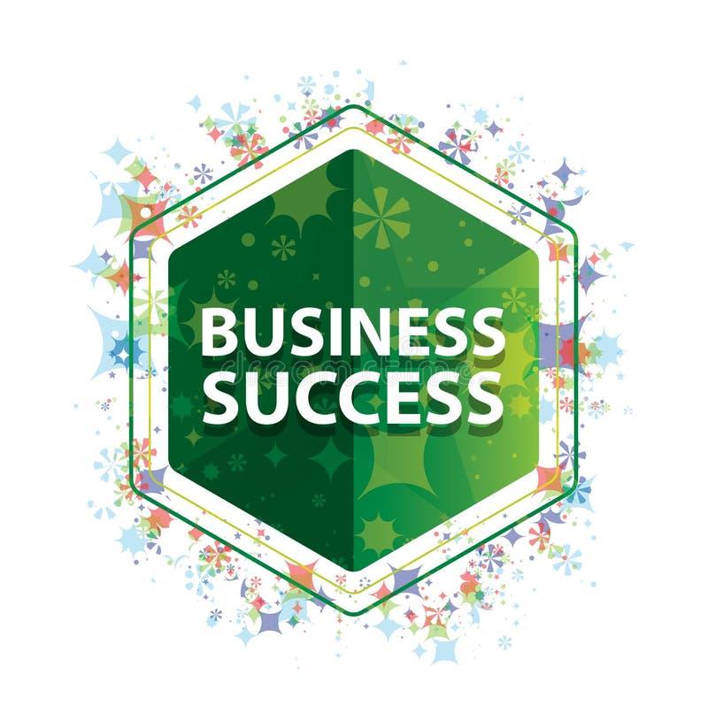 Botão floral do hexágono do verde do teste padrão das plantas do sucesso comercial ilustração do vetor