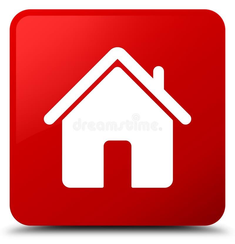 Botão home do quadrado vermelho do ícone ilustração royalty free