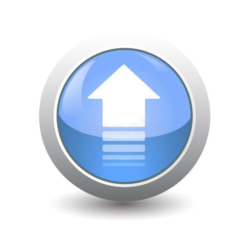 Botão isolado do ícone da seta no fundo branco para transferência, a transferência de arquivo pela rede ou a transferência ilustração do vetor