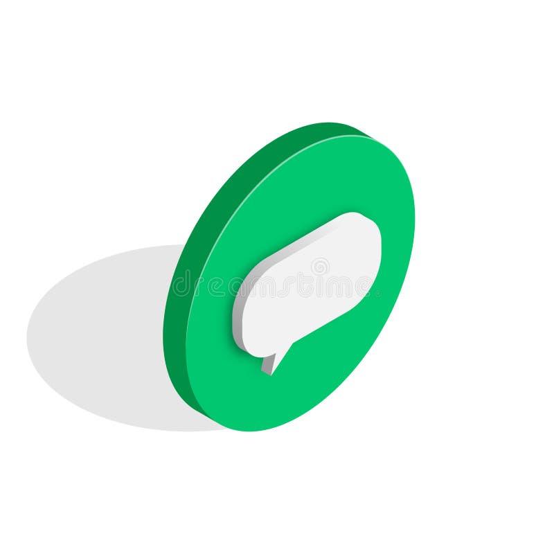Botão isométrico do ícone do bate-papo ilustração stock