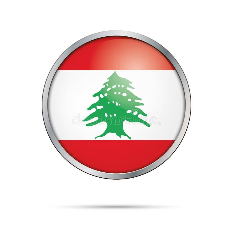 Botão libanês da bandeira do vetor Bandeira de Líbano no estilo de vidro do botão ilustração royalty free