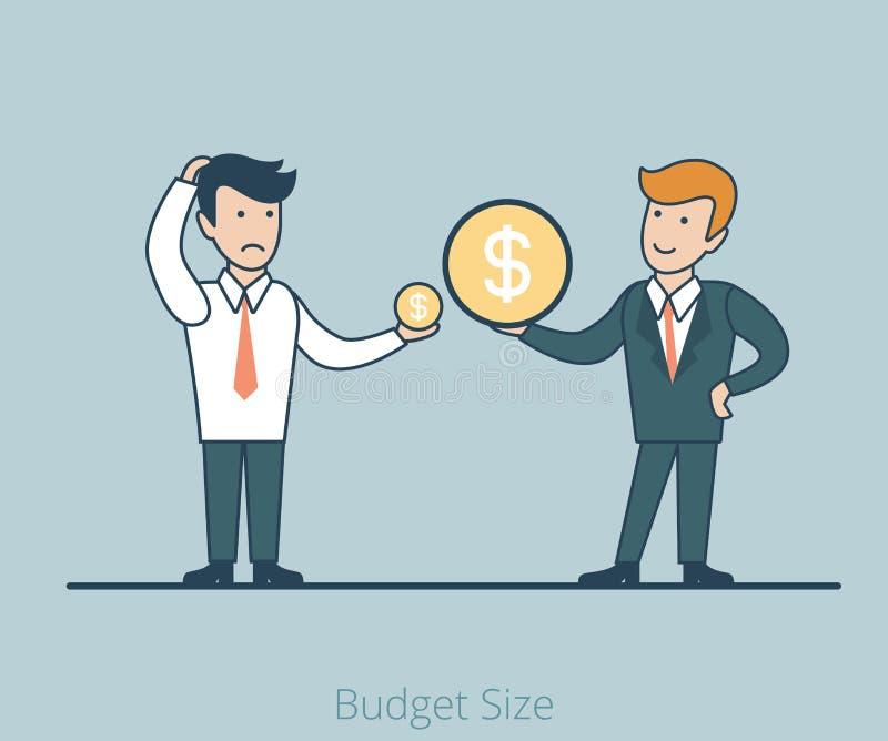 Botão linear do negócio do vetor do tamanho das moedas dos homens do plano dois ilustração royalty free
