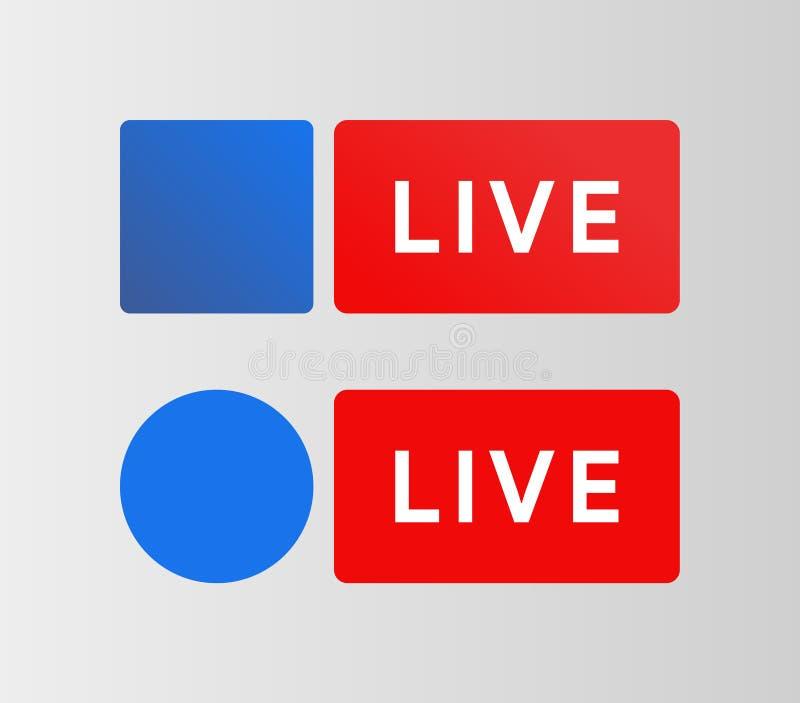 Botão Live de mídias sociais Ícone azul de fluxo Sinal de Bradcaring Ilustração vetorial foto de stock