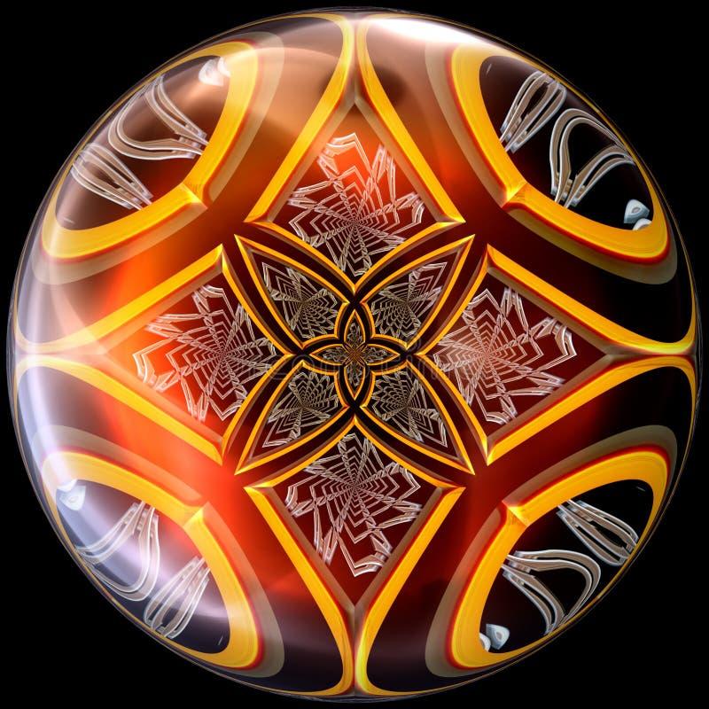 Botão lustrado lustroso com fractal imergido ilustração do vetor