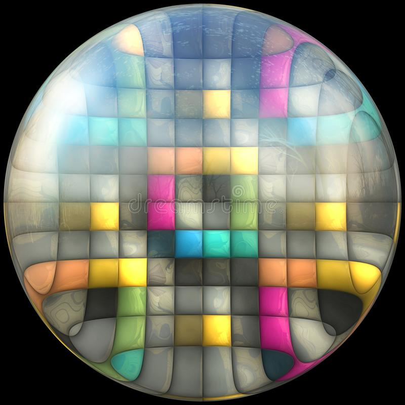 Botão lustrado lustroso com fractal imergido ilustração stock