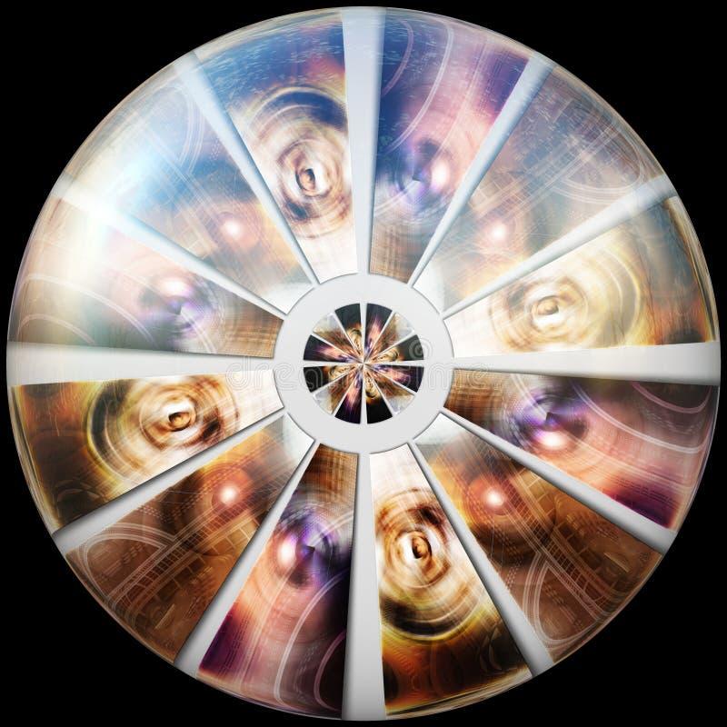 Botão lustrado lustroso com fractal imergido ilustração royalty free